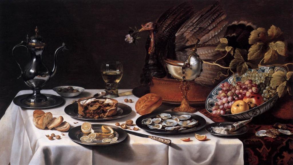 Stilleben med kalkonpaj_1627_Pieter_Claesz